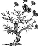 Árvore com corações no estilo da tatuagem Foto de Stock Royalty Free