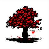 Árvore com corações vermelhos Foto de Stock Royalty Free