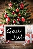 A árvore com deus julho significa o Feliz Natal Imagem de Stock