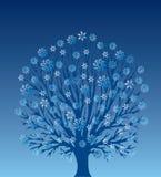 Árvore com flocos de neve Imagens de Stock