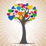 Árvore com folhas do coração ilustração stock