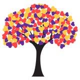 Árvore com formas do coração para as folhas Fotografia de Stock