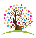 Árvore com logotipo dos corações Imagens de Stock