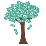 Árvore com notas de dólar para as folhas Imagens de Stock Royalty Free