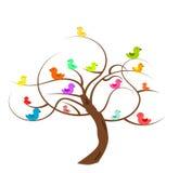 Árvore com pássaros Fotos de Stock Royalty Free