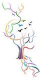 Árvore com pássaros ilustração do vetor