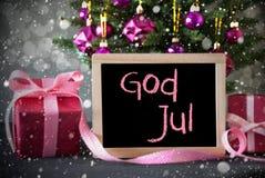 A árvore com presentes, flocos de neve, Bokeh, deus julho significa o Feliz Natal Foto de Stock Royalty Free