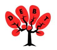 Árvore com texto do débito na coroa - a dívida financeira está crescendo ilustração do vetor