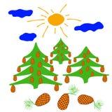 Árvore conífera com os cones grandes iluminados pelo sol ilustração royalty free