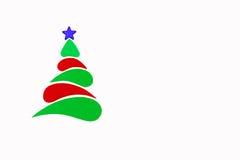 A árvore conceptual do ano novo e do Natal feita de um cartão da cor Isolado Fotografia de Stock Royalty Free