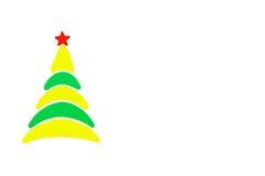 A árvore conceptual do ano novo e do Natal feita de um cartão da cor Isolado Foto de Stock Royalty Free
