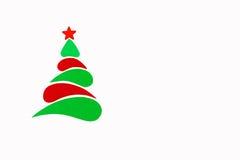 A árvore conceptual do ano novo e do Natal feita de um cartão da cor Isolado Foto de Stock