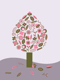 Árvore cor-de-rosa e verde Imagem de Stock Royalty Free