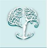 Árvore cortada papel da ioga Imagens de Stock