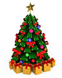 árvore 3d com os brinquedos no fundo branco Imagens de Stock Royalty Free