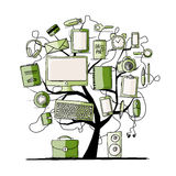 Árvore da arte com dispositivos digitais do escritório para seu projeto Fotografia de Stock