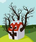Árvore da casa crescida para dentro Fotos de Stock Royalty Free