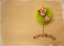 Árvore da flor de w da página do álbum de recortes imagem de stock