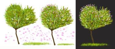 A árvore da forma do coração tem o projeto cor-de-rosa do elemento da flor Fotografia de Stock Royalty Free
