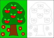 Árvore da livro-maçã da coloração imagens de stock royalty free