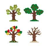 Árvore da massa de modelar quatro estações isoladas em um fundo branco Fotos de Stock Royalty Free