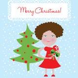 Árvore da menina e de Natal Foto de Stock