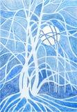 Árvore da noite do inverno da pintura Fotos de Stock