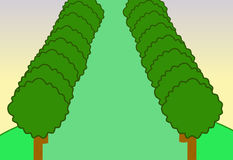 Árvore da paisagem da natureza dos desenhos animados do fundo Fotografia de Stock Royalty Free