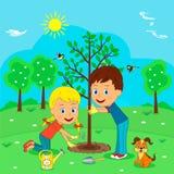Árvore da planta do menino e da menina Ilustração Stock