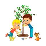 Árvore da planta do menino e da menina Ilustração Royalty Free