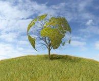 Árvore dada forma como o mapa do mundo Imagem de Stock Royalty Free