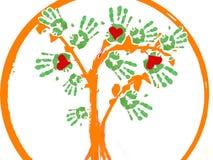 Árvore das mãos das lareiras como um logotipo. Imagem de Stock