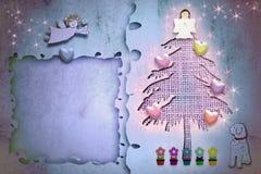 Árvore de abeto bonito do cartão do quadro do cumprimento do Natal ilustração do vetor