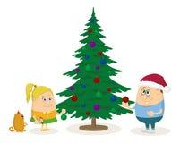 Árvore de abeto das crianças e do Natal Fotos de Stock