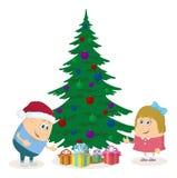 Árvore de abeto das crianças e do Natal Imagens de Stock
