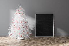 Árvore de abeto decorada branca na sala cinzenta, cartaz ilustração do vetor