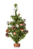 Árvore de abeto decorada do Natal isolada no branco Imagens de Stock Royalty Free