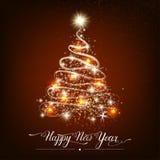 Árvore de abeto decorativa estilizado do ano novo feliz foto de stock