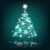 Árvore de abeto decorativa estilizado do ano novo feliz fotos de stock