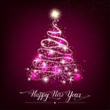 Árvore de abeto decorativa estilizado do ano novo feliz imagem de stock royalty free