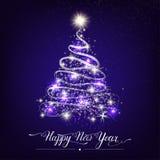 Árvore de abeto decorativa estilizado do ano novo feliz imagens de stock