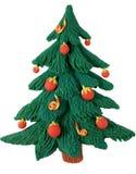Árvore de abeto do ano novo do plasticine Fotos de Stock