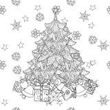 Árvore de abeto do Natal com presentes Fotos de Stock Royalty Free