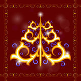 Árvore de abeto do ouro com ondas azuis Imagens de Stock Royalty Free