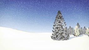 Árvore de abeto nevado no dia da queda de neve Foto de Stock Royalty Free