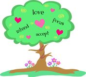 Árvore de amor com corações e espirais Fotos de Stock