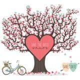 Árvore de amor do convite do casamento ilustração stock