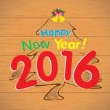 Árvore de ano novo feliz 2016 e de Natal no fundo de madeira Imagem de Stock Royalty Free