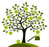 Árvore de Apple e máquina desbastadora do fruto ilustração royalty free