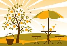 Árvore de Apple e sumo de maçã ilustração do vetor